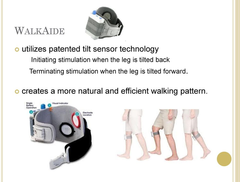 Terminating stimulation when the leg is tilted