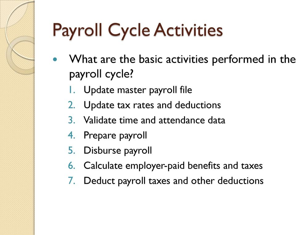 Validate time and attendance data 4. Prepare payroll 5. Disburse payroll 6.
