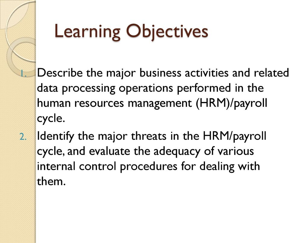 performed in the human resources management (HRM)/payroll cycle. 2.