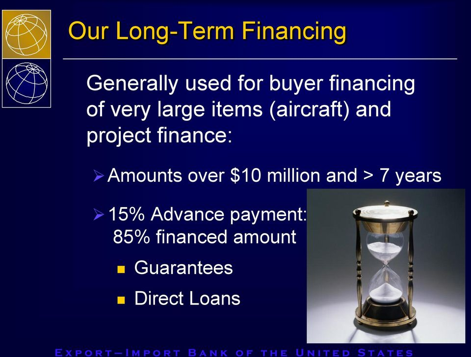 finance: Amounts over $10 million and > 7 years 15%