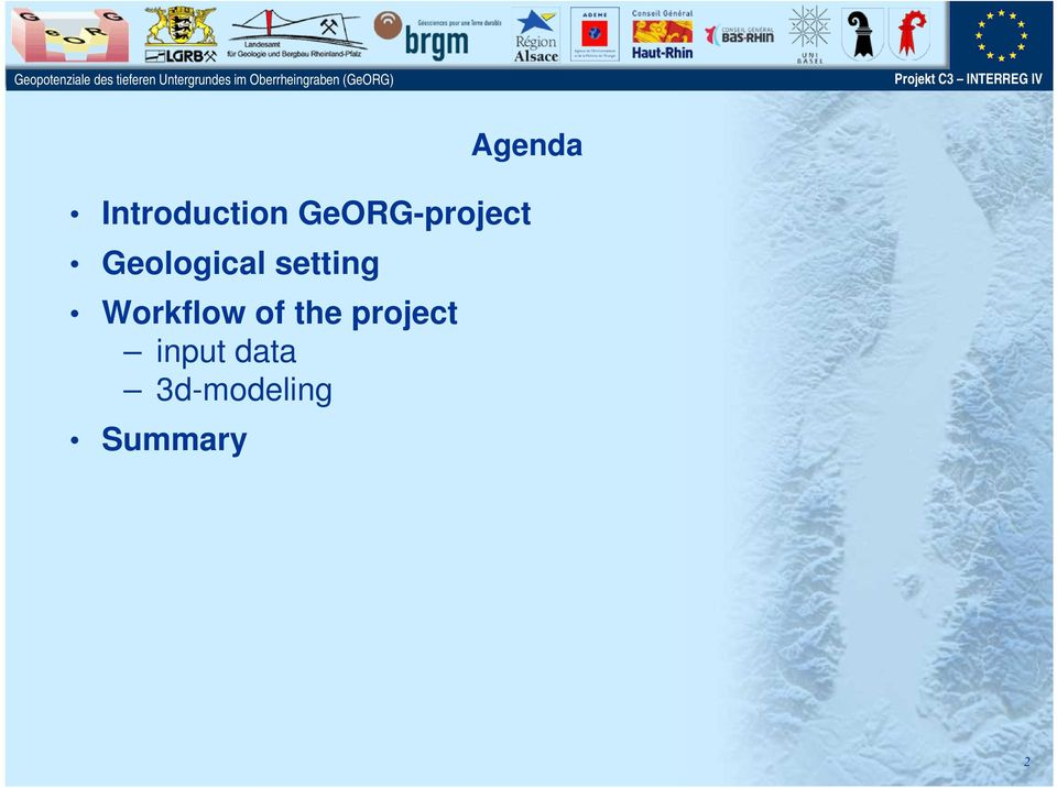 GeORG-project Geological setting Workflow