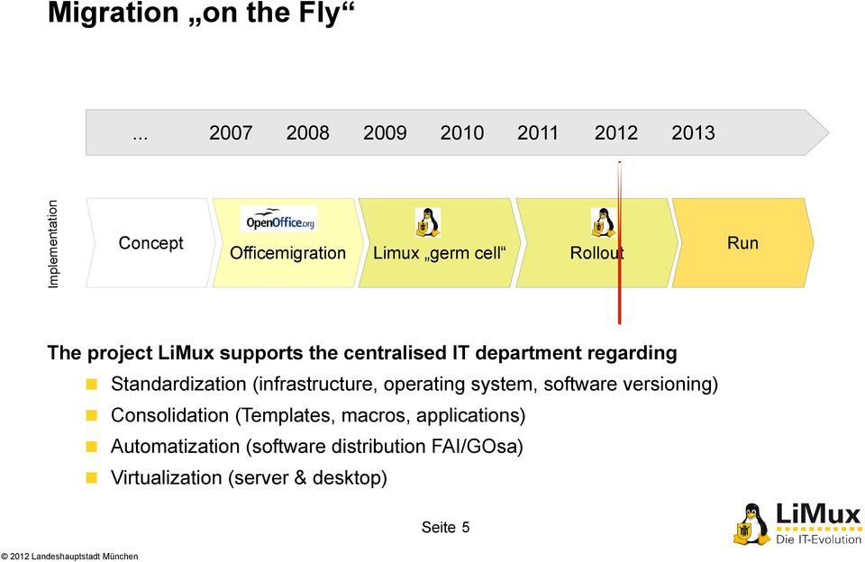 LiMux supports the centralised IT department regarding Standardization (infrastructure, operating