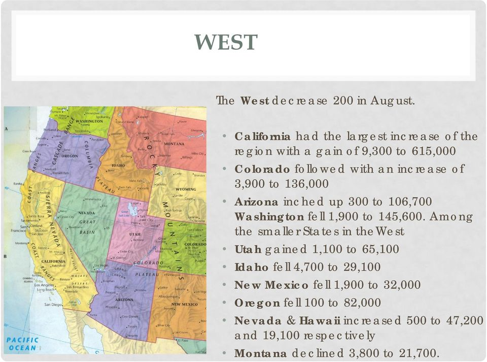 3,900 to 136,000 Arizona inched up 300 to 106,700 Washington fell 1,900 to 145,600.