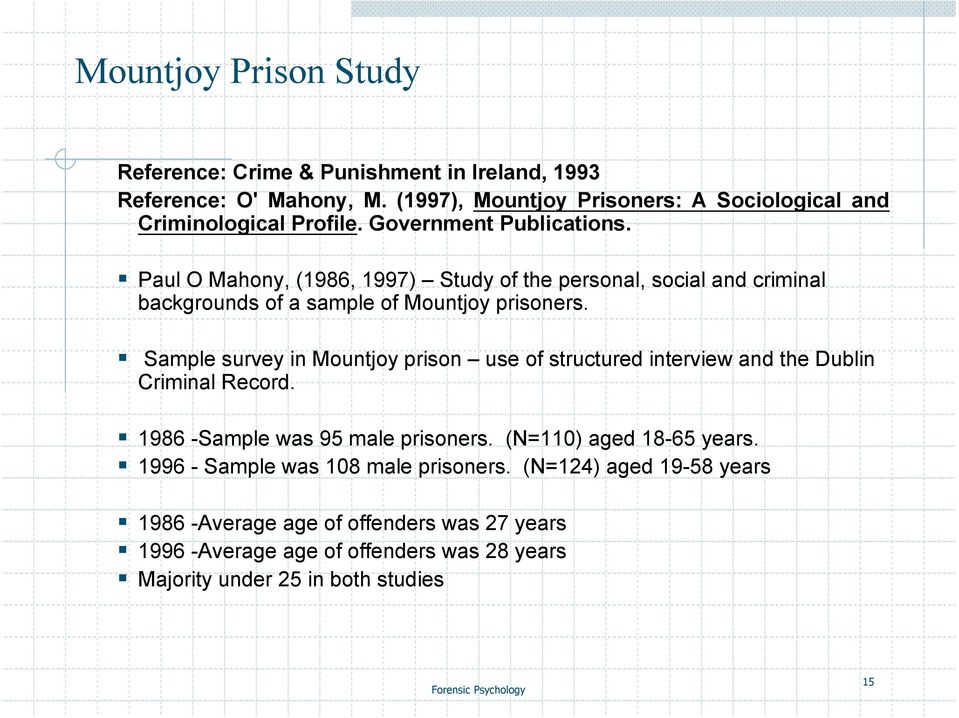 Paul O Mahony, (1986, 1997) Study of the personal, social and criminal backgrounds of a sample of Mountjoy prisoners.
