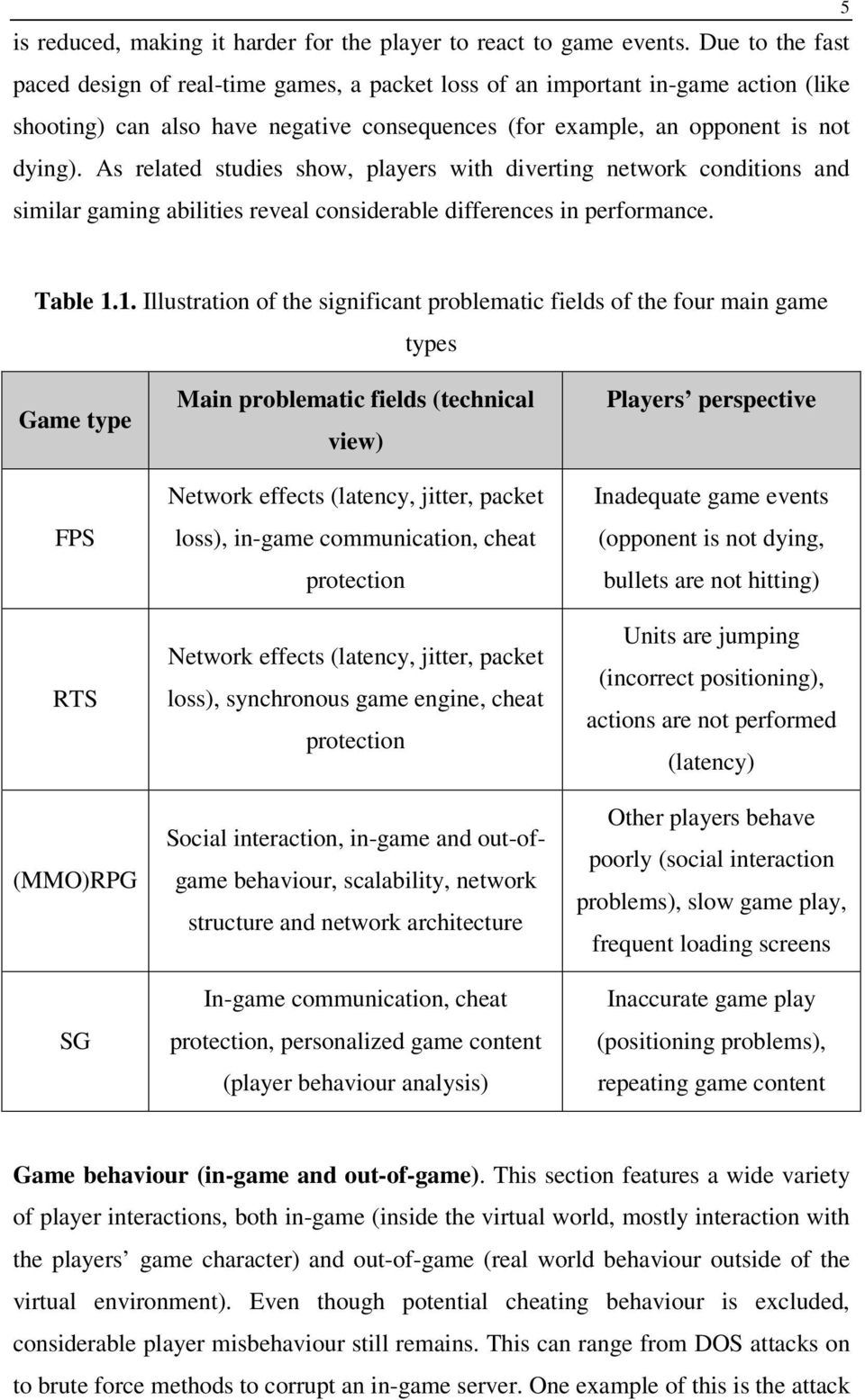 As related studies show, players with diverting network conditions and similar gaming abilities reveal considerable differences in performance. 5 Table 1.