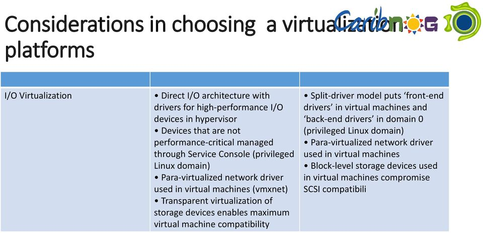 Transparent virtualization of storage devices enables maximum virtual machine compatibility Split-driver model puts front-end drivers in virtual machines and back-end