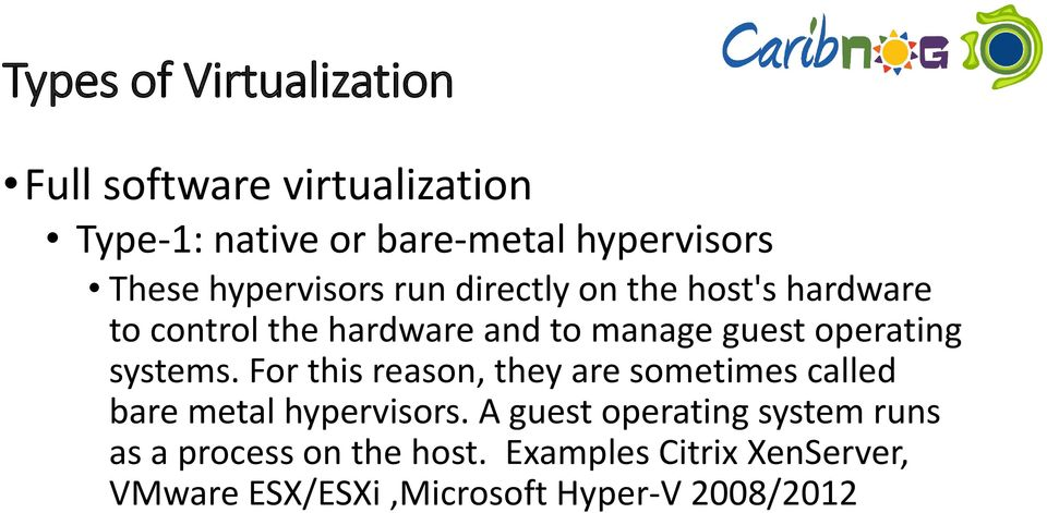operating systems. For this reason, they are sometimes called bare metal hypervisors.