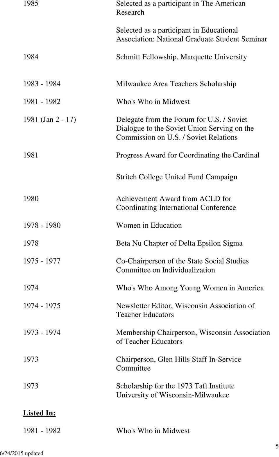 holarship 1981-1982 Who's Who in Midwest 1981 (Jan 2-17) Delegate from the Forum for U.S.