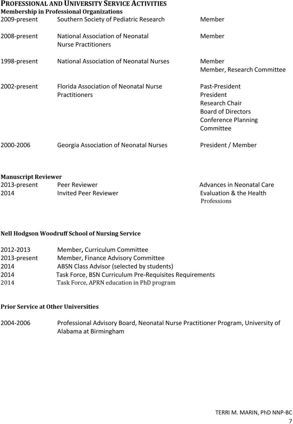 Research Chair Board of Directors Conference Planning Committee 2000-2006 Georgia Association of Neonatal Nurses President / Member Manuscript Reviewer 2013-present Peer Reviewer Advances in Neonatal