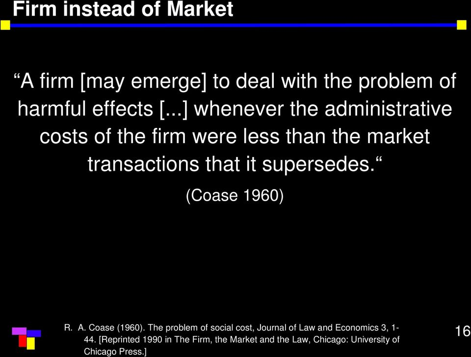 supersedes. (Coase 1960) R. A. Coase (1960).