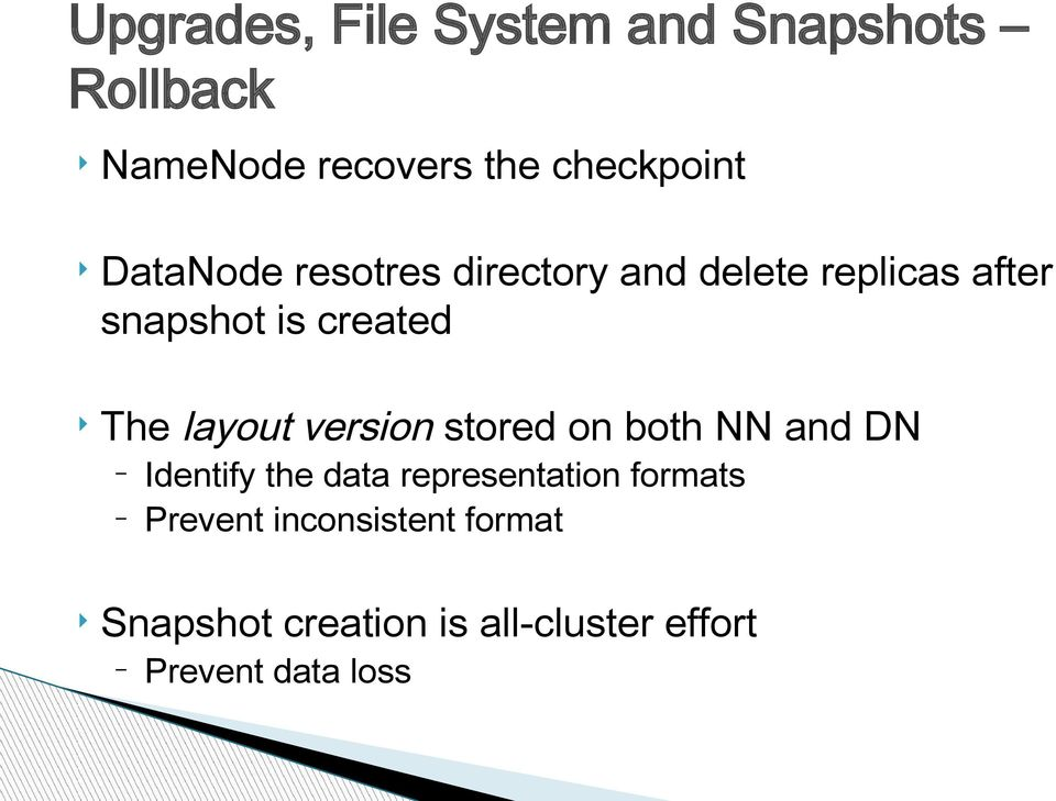 layout version stored on both NN and DN Identify the data representation formats
