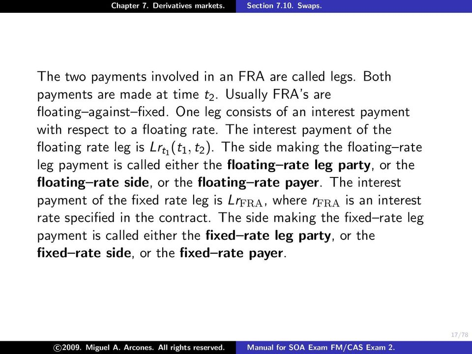 The side making the floating rate leg payment is called either the floating rate leg party, or the floating rate side, or the floating rate payer.