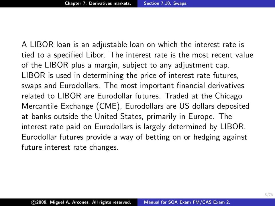 LIBOR is used in determining the price of interest rate futures, swaps and Eurodollars. The most important financial derivatives related to LIBOR are Eurodollar futures.
