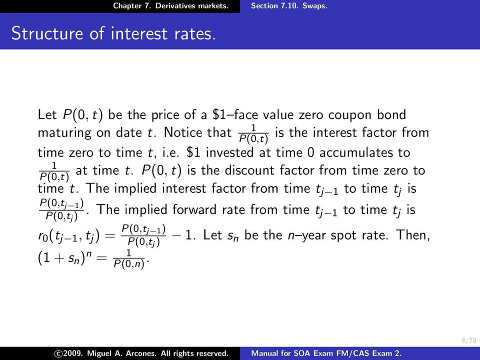 P(0, t) is the discount factor from time zero to time t. The implied interest factor from time t j 1 to time t j is P(0,t j 1 ) P(0,t j ).