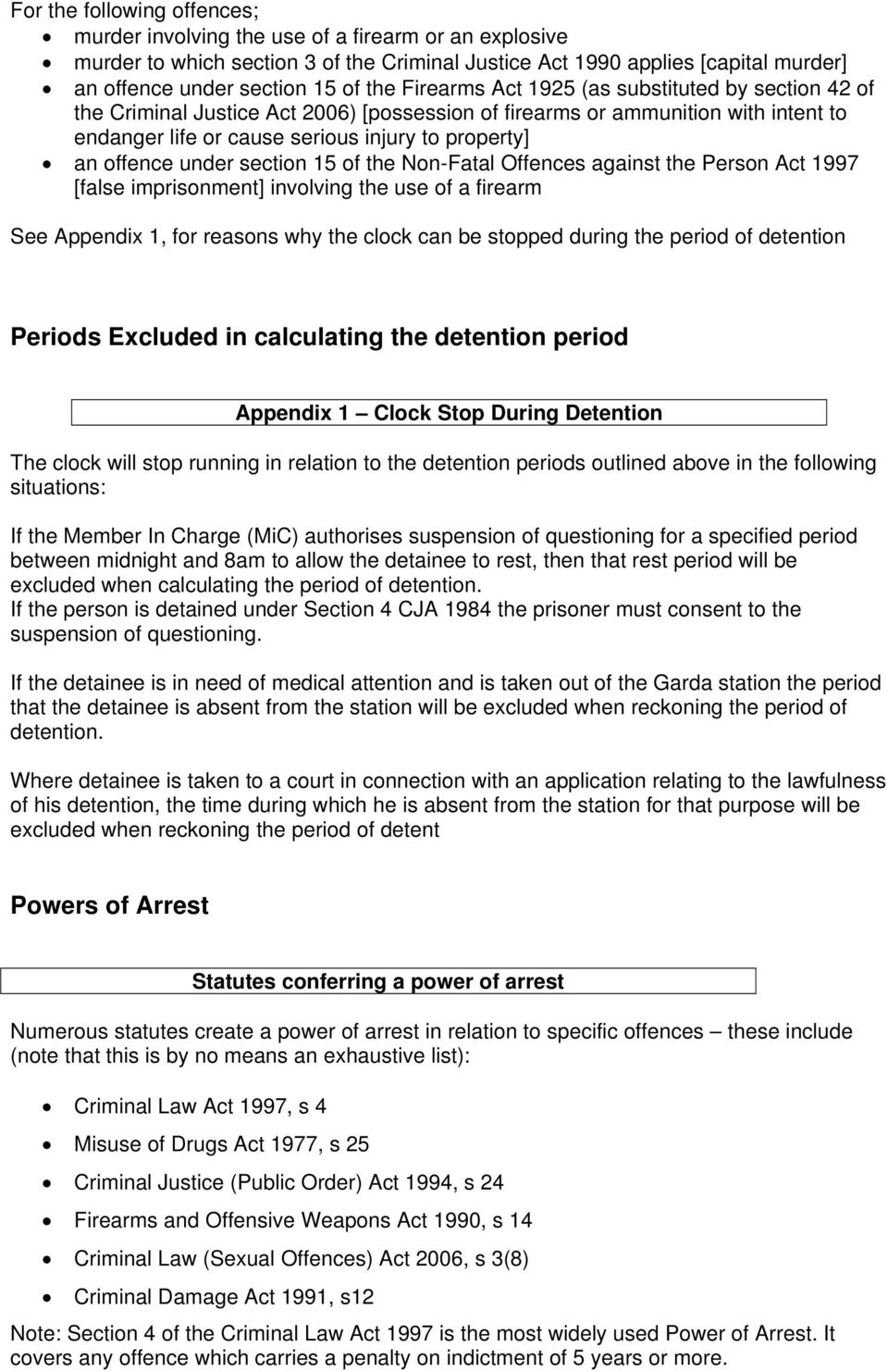 offence under section 15 of the Non-Fatal Offences against the Person Act 1997 [false imprisonment] involving the use of a firearm Periods Excluded in calculating the detention period Appendix 1