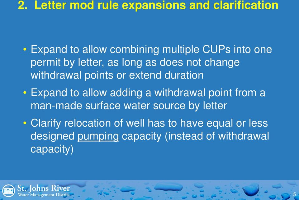 allow adding a withdrawal point from a man-made surface water source by letter Clarify