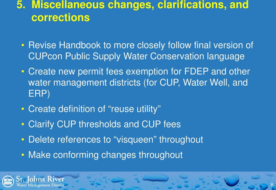 other water management districts (for CUP, Water Well, and ERP) Create definition of reuse utility
