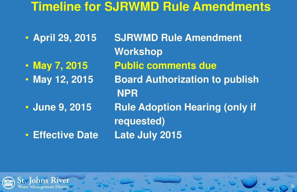 12, 2015 Board Authorization to publish NPR June 9, 2015 Rule