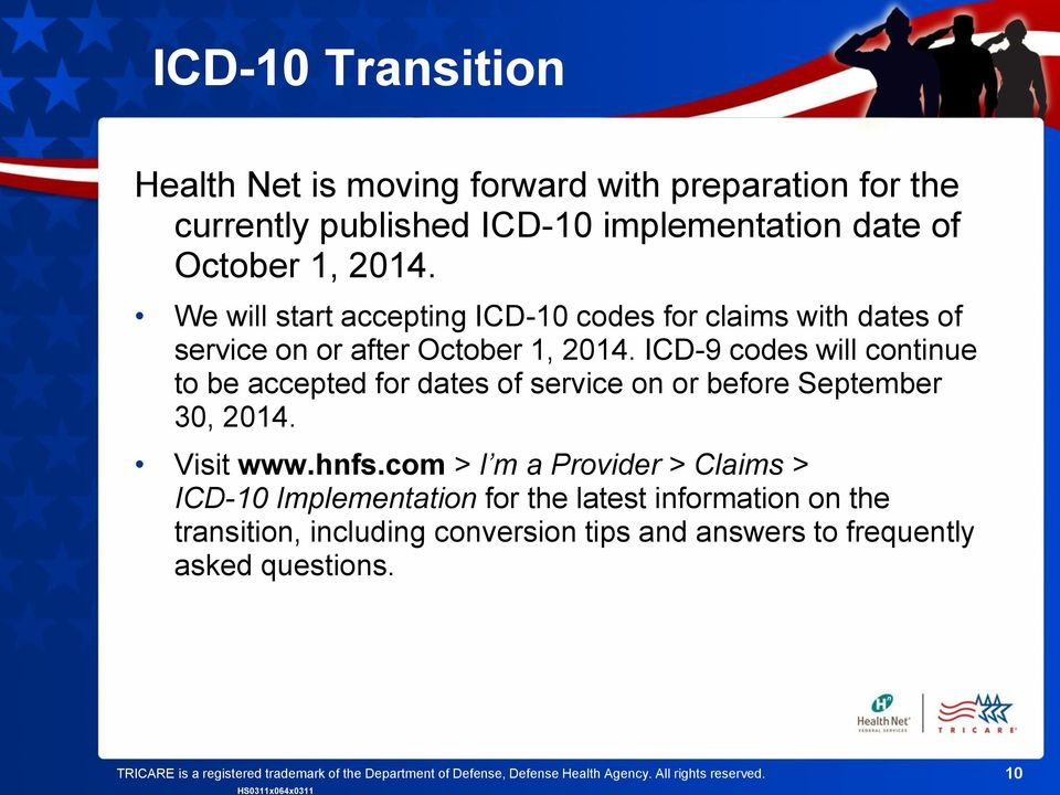 ICD-9 codes will continue to be accepted for dates of service on or before September 30, 2014. Visit www.hnfs.