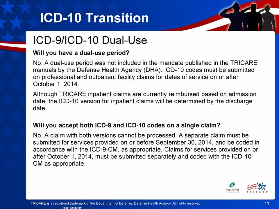 Although TRICARE inpatient claims are currently reimbursed based on admission date, the ICD-10 version for inpatient claims will be determined by the discharge date.