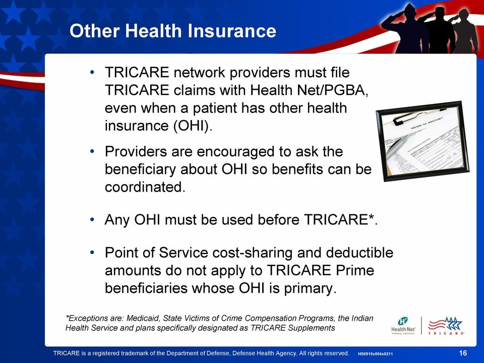 Point of Service cost-sharing and deductible amounts do not apply to TRICARE Prime beneficiaries whose OHI is primary.