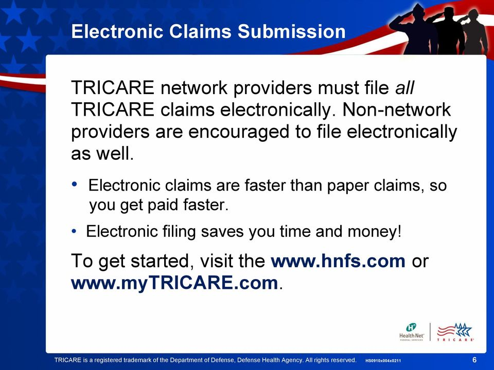 Electronic claims are faster than paper claims, so you get paid faster. Electronic filing saves you time and money!