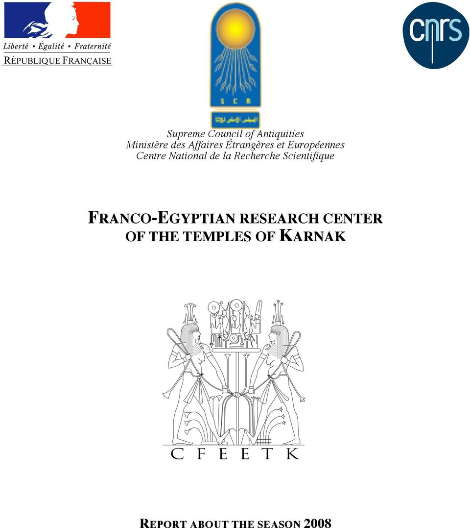 de la Recherche Scientifique FRANCO-EGYPTIAN