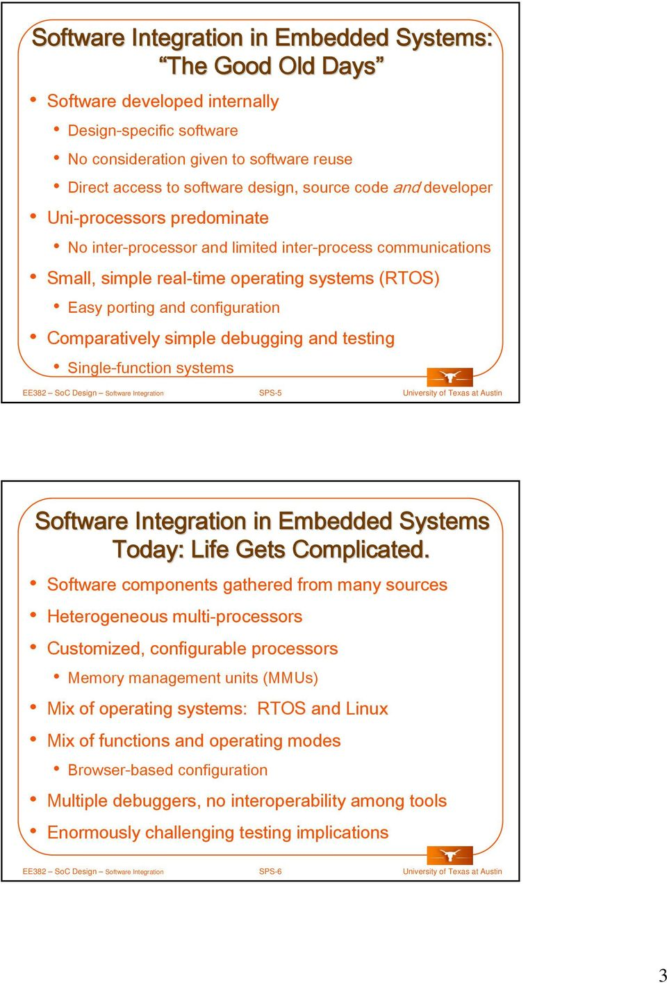 debugging and testing Single-function systems EE382 SoC Design Software Integration SPS-5 University of Texas at Austin Software Integration in Embedded s Today: Life Gets Complicated.