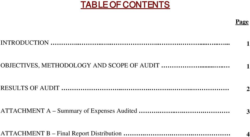 .... 1 RESULTS OF AUDIT.