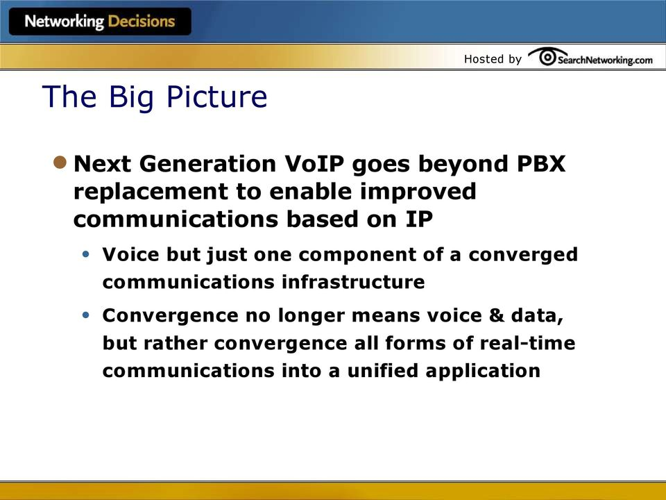 converged communications infrastructure Convergence no longer means voice &
