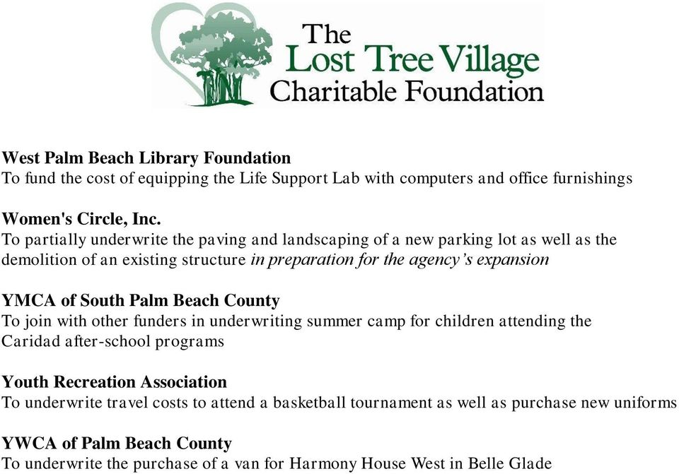 YMCA of South Palm Beach County To join with other funders in underwriting summer camp for children attending the Caridad after-school programs Youth Recreation