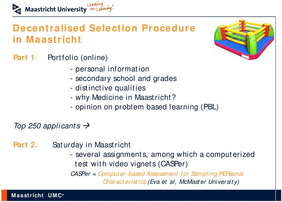 Maastricht? - opinion on problem based learning (PBL) Top 250 applicants Part 2.