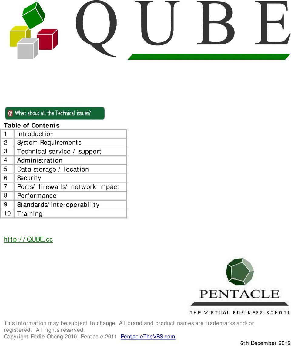 Standards/interoperability 10 Training http://qube.cc This information may be subject to change.