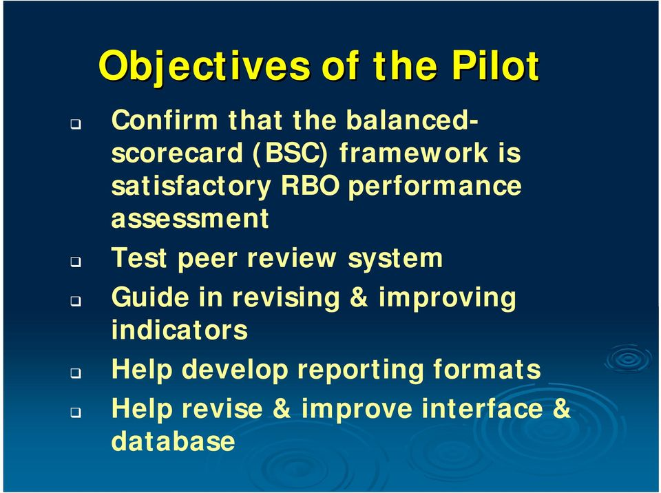 peer review system Guide in revising & improving indicators