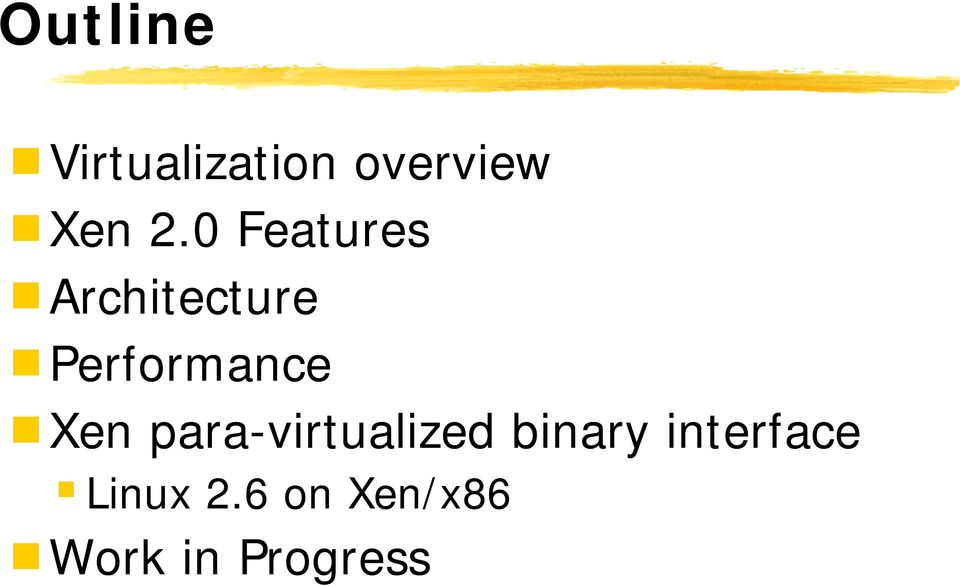 Xen para-virtualized binary interface