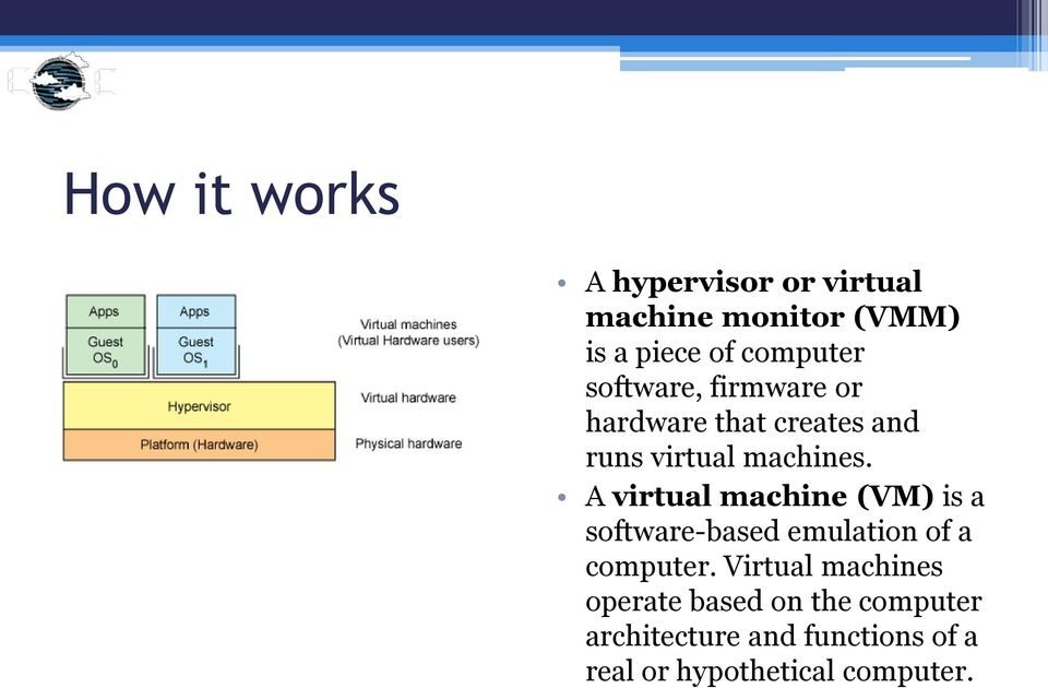 A virtual machine (VM) is a software-based emulation of a computer.