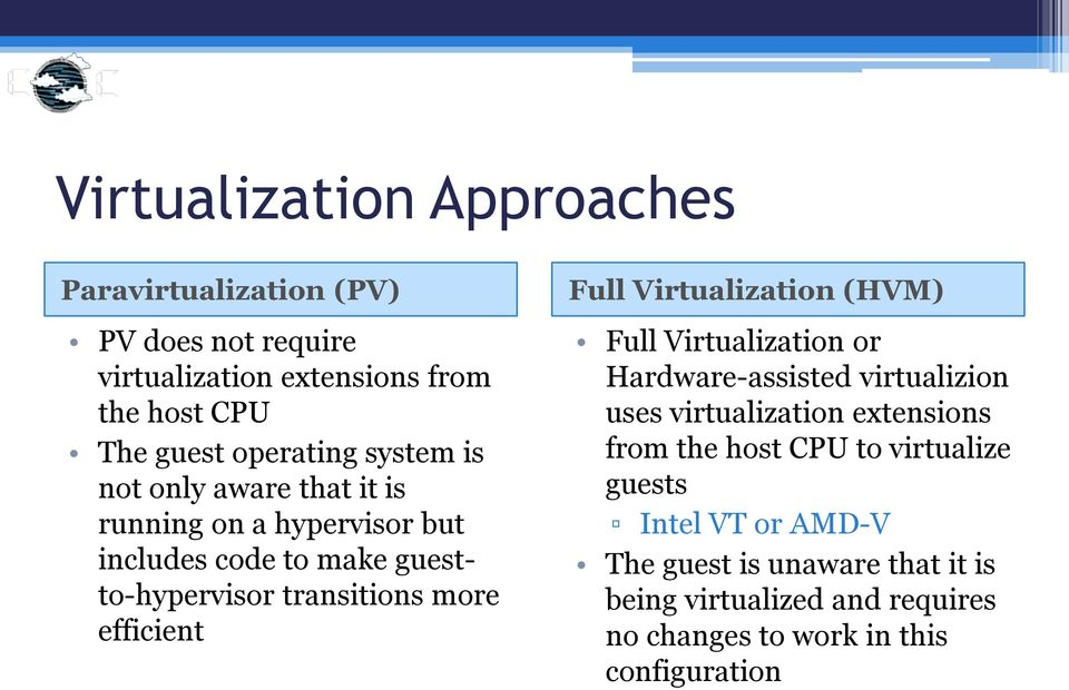 Full Virtualization (HVM) Full Virtualization or Hardware-assisted virtualizion uses virtualization extensions from the host CPU to