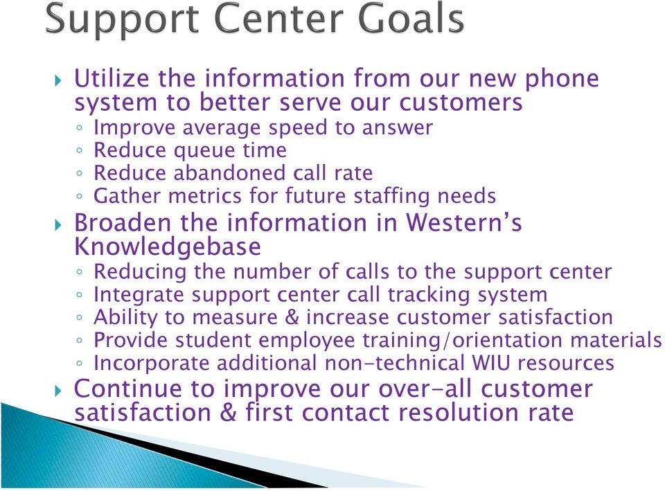 Reducing the number of calls to the support center! Integrate support center call tracking system! Ability to measure & increase customer satisfaction!