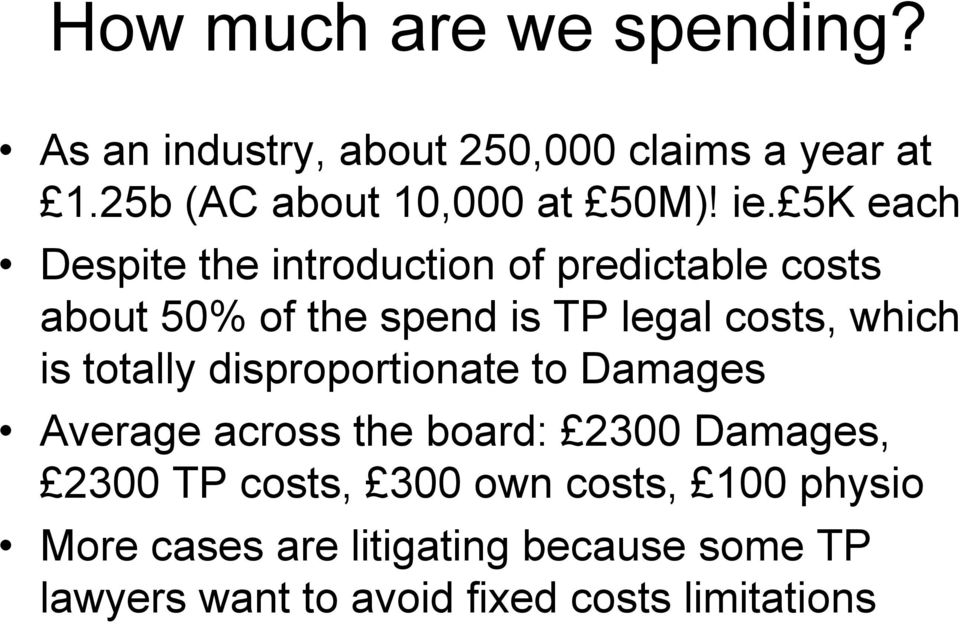 which is totally disproportionate to Damages Average across the board: 2300 Damages, 2300 TP costs, 300