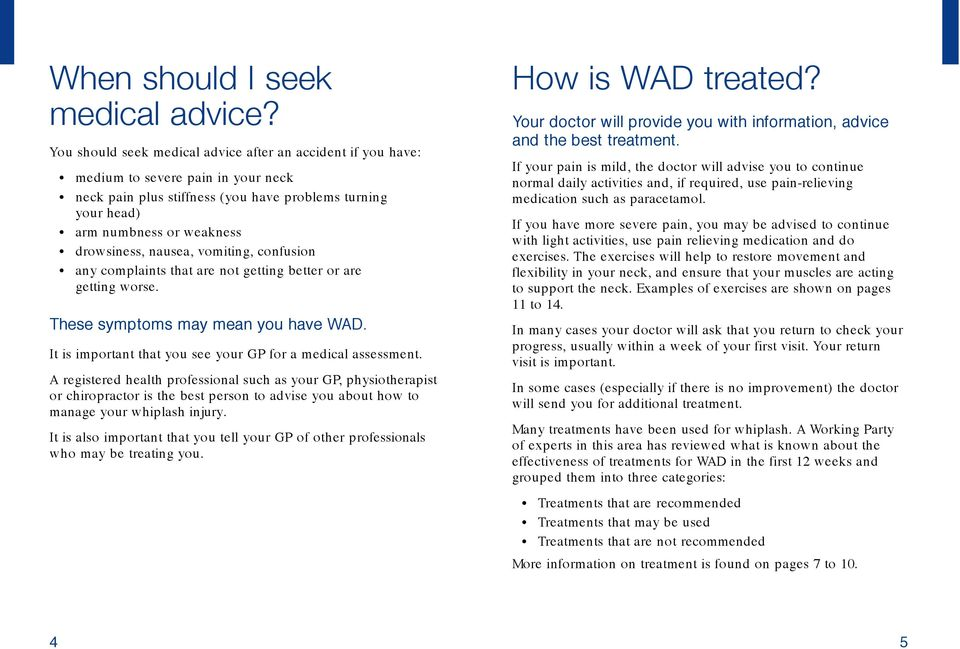 nausea, vomiting, confusion any complaints that are not getting better or are getting worse. These symptoms may mean you have WAD. It is important that you see your GP for a medical assessment.