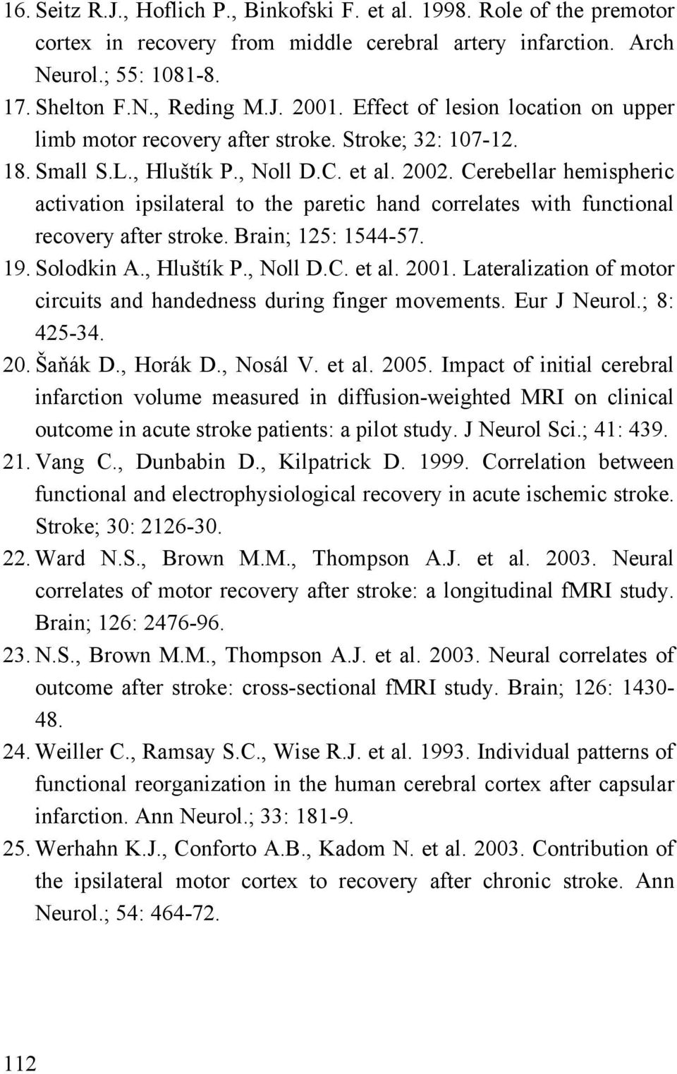 Cerebellar hemispheric activation ipsilateral to the paretic hand correlates with functional recovery after stroke. Brain; 125: 1544-57. 19. Solodkin A., Hluštík P., Noll D.C. et al. 2001.