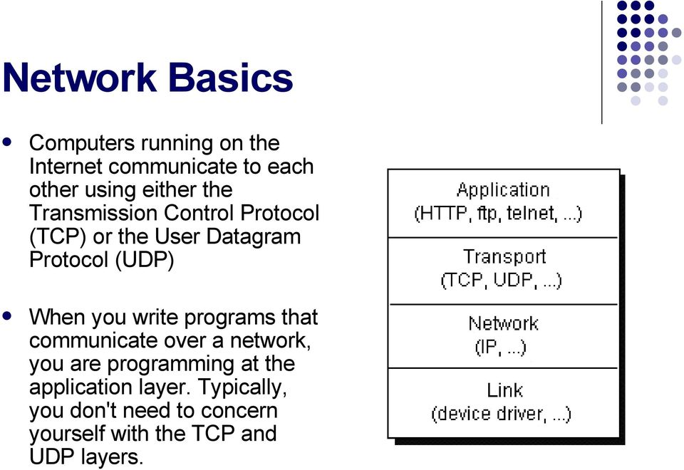 When you write programs that communicate over a network, you are programming at the
