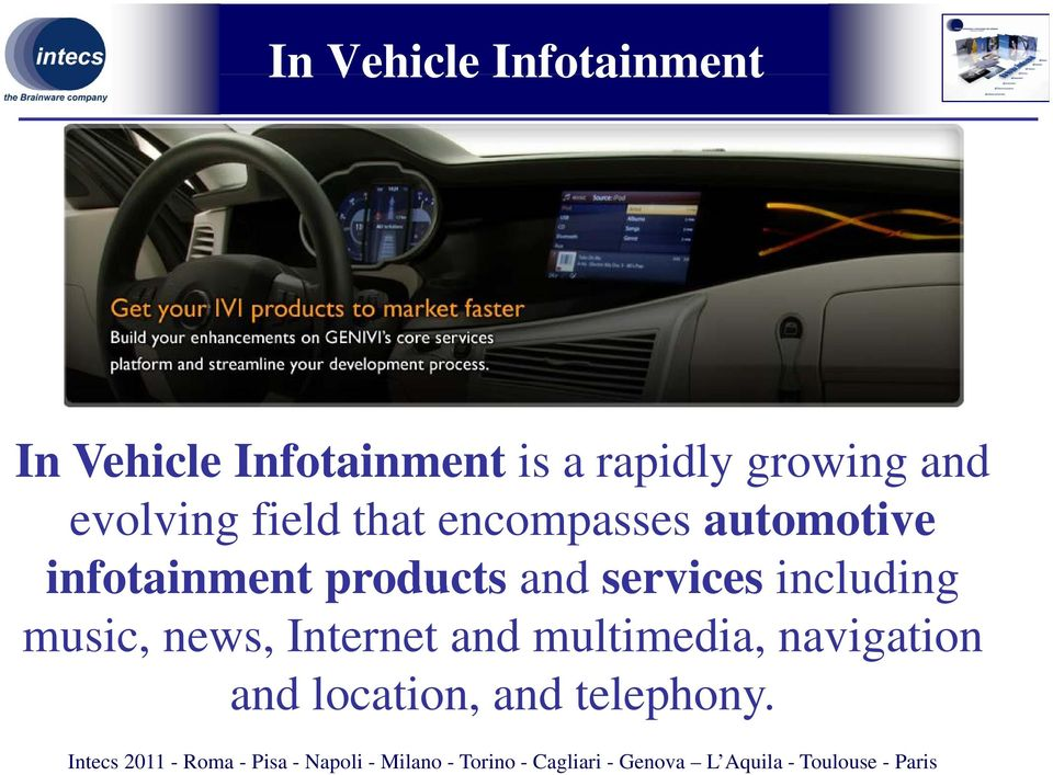 automotive infotainment products and services including