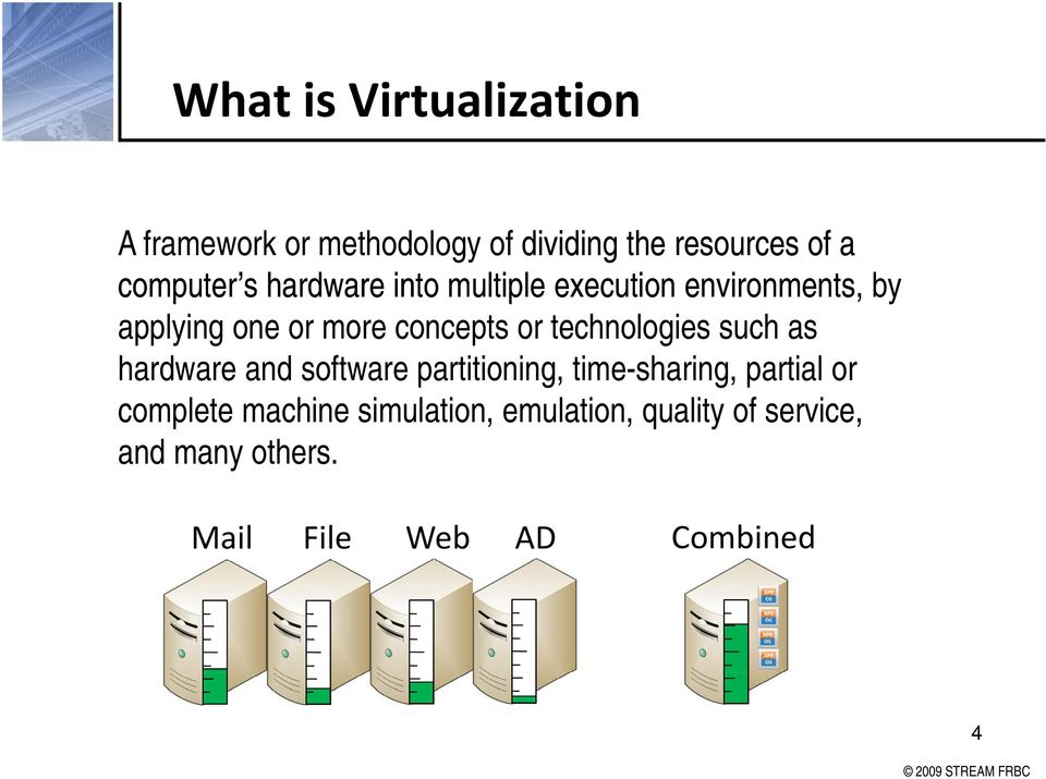 technologies such as hardware and software partitioning, time-sharing, partial or complete