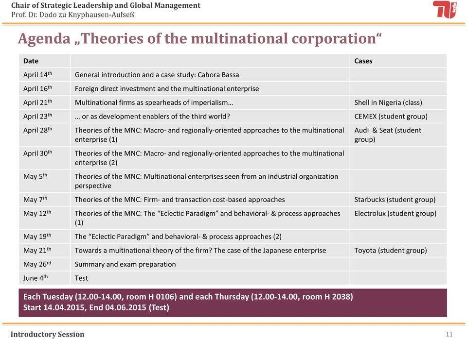CEMEX (student group) April 28 th April 30 th May 5 th Theories of the MNC: Macro-and regionally-oriented approaches to the multinational enterprise (1) Theories of the MNC: Macro-and