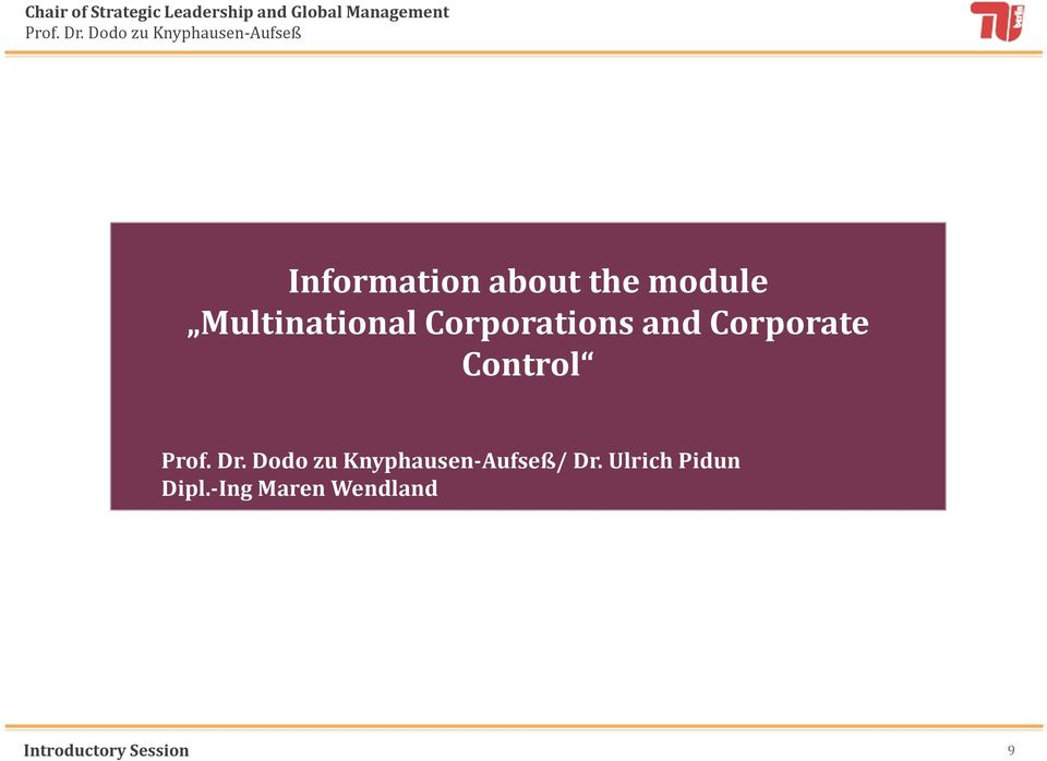 Corporate Control / Dr.