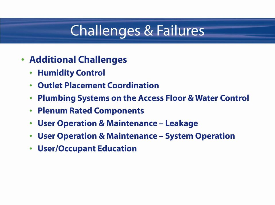 Control Plenum Rated Components User Operation & Maintenance Leakage
