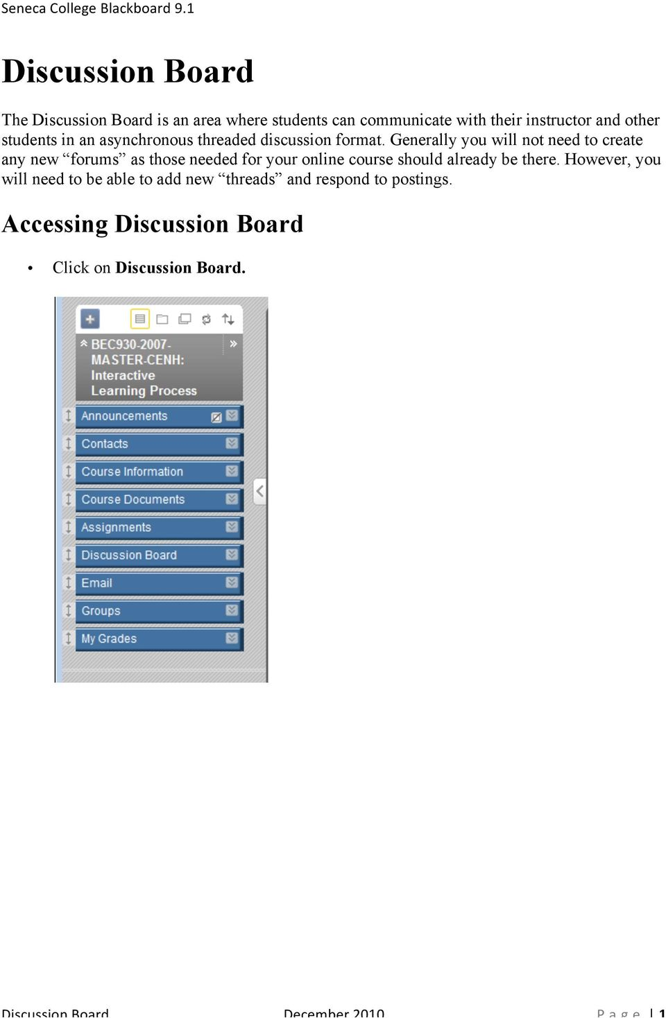 Discussion Board Accessing Discussion Board