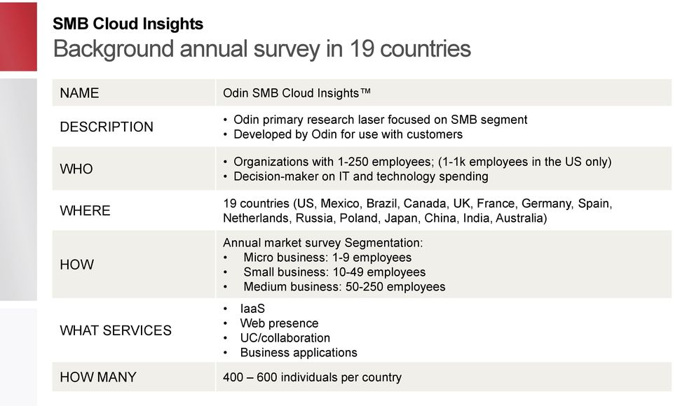 countries (US, Mexico, Brazil, Canada, UK, France, Germany, Spain, Netherlands, Russia, Poland, Japan, China, India, Australia) Annual market survey Segmentation: Micro
