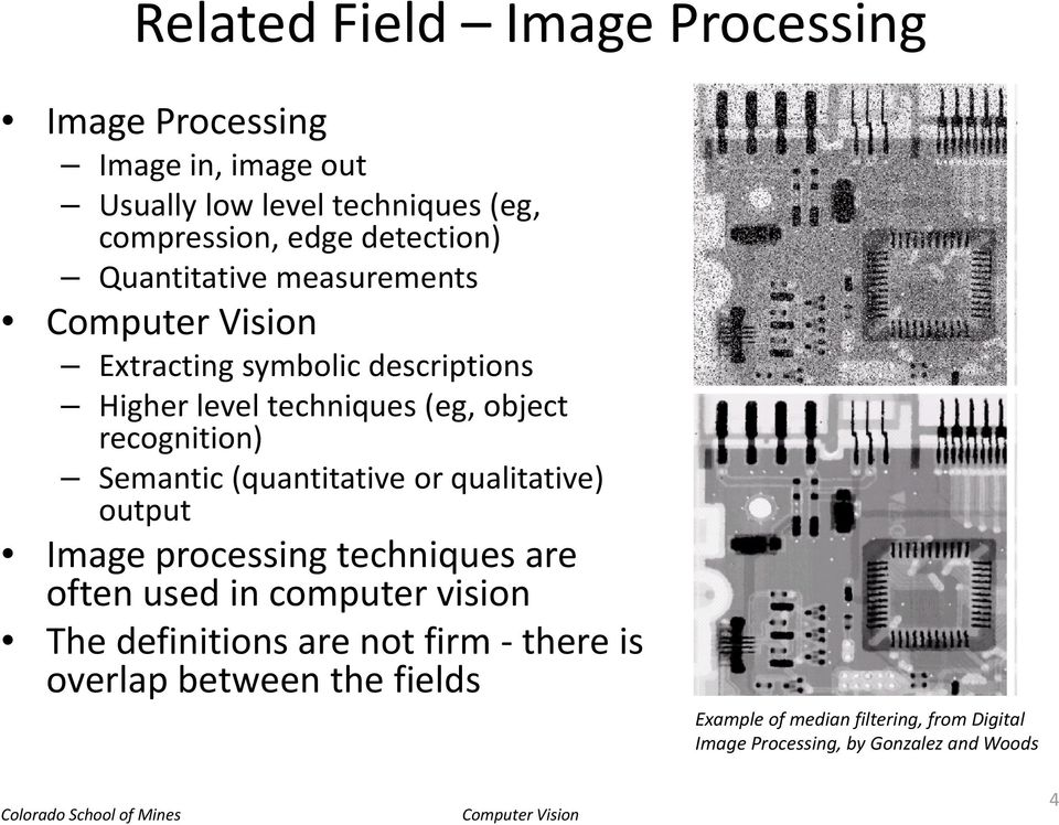 Semantic (quantitative or qualitative) output Image processing techniques are often used in computer vision The definitions